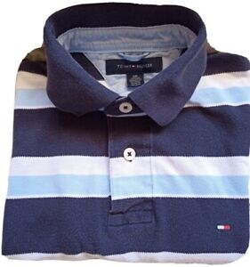 TOMMY HILFIGER Women's Polo Shirt Size S/P Striped blue Short Sleeve