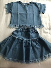 Finger In The Nose Kids Denims Set Of Top And Skirt Size 4-5 Years Old Girls