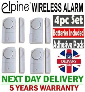 4 WINDOW & DOOR BURGLAR INTRUDER ALARMS WIRELESS SENSOR 5 YEARS WARRANTY UK