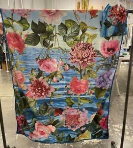 Johnny Was Costa Azul Reversible Large Beach Towel Flower Blue Butterfly NEW