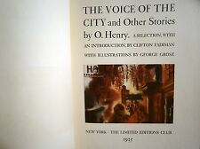 OOP Lim Ed. Illus/signed George Grosz O'Henry THE VOICE OF THE CITY Fine in slip