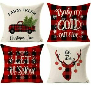 """Oh Deer Set of 4 Christmas Pillow Cover Cushion Cover Decorative Pillowcases 17"""""""
