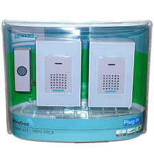 SIEMENS® Wireless Twin Doorbell Door Chime Kit Plug in Cordless 80 Metre #10598