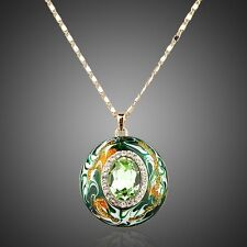 Genuine Swarovski Element Green Crystal Round Enamel Necklace Pendant Jewellery