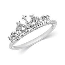 Solid Sterling Silver Natural Diamond Princess Heart Crown Tiara Band Ring NEW
