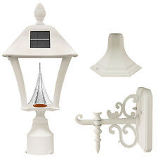 Open Box Gama Sonic Baytown Solar Lamp wall pier fitter sconce WHITE GS-106FPW-W