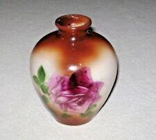 Antique ca. 1900-1920's Fostoria Bulbous Milk Glass Vase Hand Painted Rose