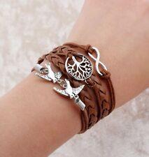 Infinity Brown Leather Like Braided Multi Strand Charm Bracelet Doves Tree Life