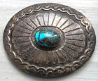 Vintage NAVAJO OVAL STAMPED SILVER & TURQUOISE CONCHO BELT BUCKLE c. 1930 50s