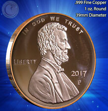 2017 Lincoln Penny 1 oz .999 Copper Round