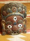 SUPER COOL OLD NEPAL or TIBETIAN CORAL & TURQUOISE GLASS BRASS MASK w 3 EYES