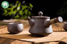 Brown Ceramic Chinese Kungfu Tea Set Side Handle Teapot & Teacups 3 Pcs