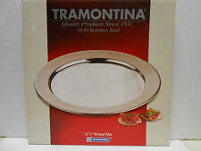 "Tramontina 18/10 Stainless Steel 12 1/4"" Round Mat serving tray."