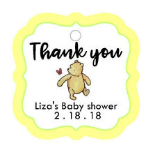 24 Personalized Baby Shower CLASSIC POOH BEAR Thank You favor tags. yellow