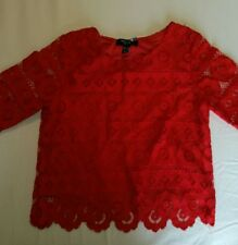 Red lace crop top smart party top UK 4 PETITE but will also fit a 6
