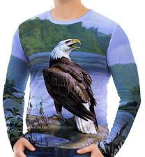 Eagle River Log Bäume Wald Herren Langarm T-Shirt Tee wa2 aao40844