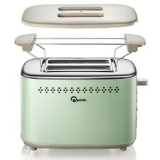 Retro Toaster Oven 2 Slice Stainless Steel Extra Wide Slot Removable Crumb Tray