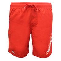 Adidas Line Graphic Mens Swim Shorts Medium Length Swimwear Red