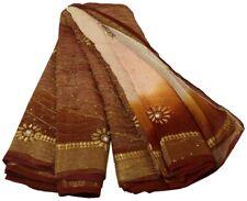 Vintage Saree 100% Pure Georgette Silk Embroidered Craft Sari Fabric Light Peach