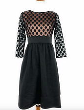 Eliza J Dress Size: 14 Black Long Sleeve Dot Top Fit and Flare Boutique