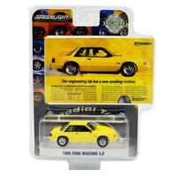 """GREENLIGHT 30062 1988 FORD MUSTANG 5.0 YELLOW """"VINTAGE AD CARS"""" DIECAST CAR 1:64"""