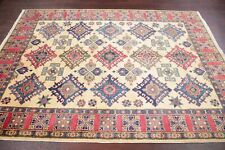 5x7 Geometric South-west Super Kazak Oriental Area Rug IVORY Hand-Knotted WOOL