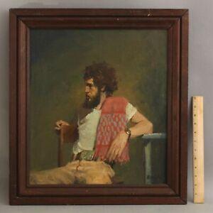Original GREGG KREUTZ American 1970s Portrait Oil Painting, Man Sitting on Chair
