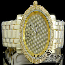 LADIES WOMEN'S YELLOW GOLD FINISH REAL GENUINE DIAMOND ROUND WRIST WATCH NEW