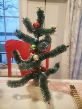 Vintage Christmas bottlebrush Feather Tree 15.5� wood base Glass ornaments