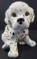 "Vintage Ceramic 6"" Dalmatian Sitting Dog Hand Painted Figurine"