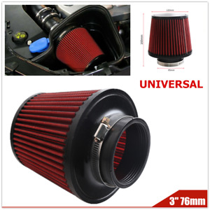 Universal 76mm Car SUV High Flow Cold Round Cone Intake Air Filter Cleaner Kit