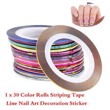30 Pcs Mixed Colors Rolls Striping Nail Art Tape Line Tips Decoration Sticker RJ