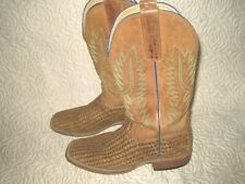 Horse Power Western Boot Men Weave Pull Tabs Roper Square Toast HP1758 - 6