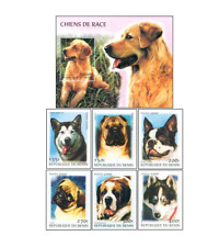 BEN0001 Dogs block and 6 stamps