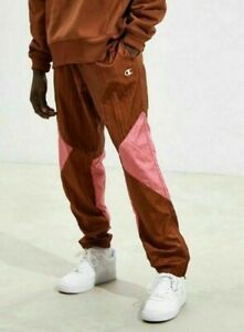 Champion Warm-up WindBreaker Joggers Track Pants Color Block Rust Brown-Pink NEW