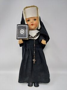 Vintage Nun Doll in Habit with Rosary and Bible, Closing Eyes