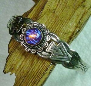 Vtg Harvey Era Native American Sterling Dragon's Breath Opal Cuff Arrow Bracelet