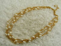 Goldtone White Bead Multi Chain Necklace (C69)