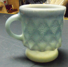 VINTAGE FIRE KING BLUE KIMBERLY COFFEE MUG CUP ANCHOR HOCKING GLASS STACKABLE