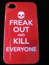 Freak Out Skull Hard Cover Case for iPhone 4 4s  Freak Out and Kill Everyone Red