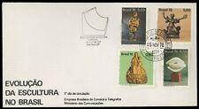 Evolucao da escultura no Brasil 76 Busta commemorativa 4 francobolli e annullo