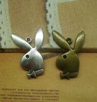 8/25pcs 33x21mm Antique Silver bronze Lovely  Playboy rabbit head Charms Pendant