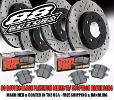 High Carbon Drilled & Slotted Black Platinum Rotors Stoptech Brake Pads Evo X 10