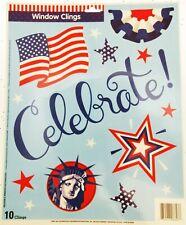 Window Clings Celebrate Patriot Stars Lady Liberty Top Hat Flag Patriotic
