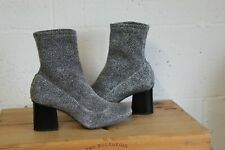 SILVER STRETCHY ANKLE SOCK BOOTS SIZE 6.5 / 40 BY TOPSHOP USED CONDITION