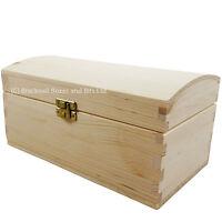 Wooden box storage chest keepsake plain pine wood no handles 5 sizes - BPU120