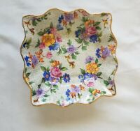 Vintage Rosina Bone China Floral Chintz Square Trinket Dish Finger Bowl