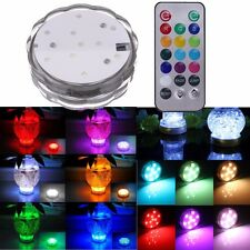 10 LED RGB Submersible Underwater Spot Light Party Vase Pond Fish Tank +Remote