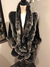 Carmen Marc Valvo Black Cashmere Fox Fur Trim Cape Poncho Jacket XL