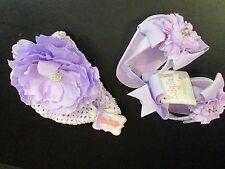 Mud Pie Purple Mesh Jeweled Flower Hat and Purple Flip Flops,  0-6 Months, NWT